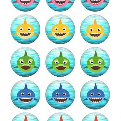 BABY SHARK CUPCAKE TOPPERS WAFER PA..