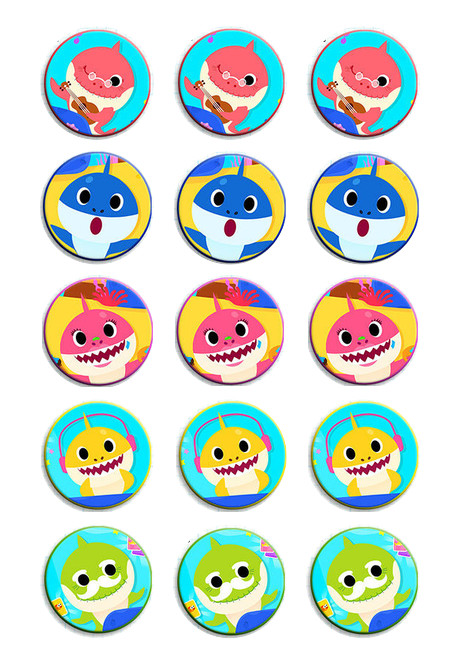 BABY SHARK CUPCAKE TOPPERS WAFER PAPER EDIBLE MULTIPLE DESIGNS