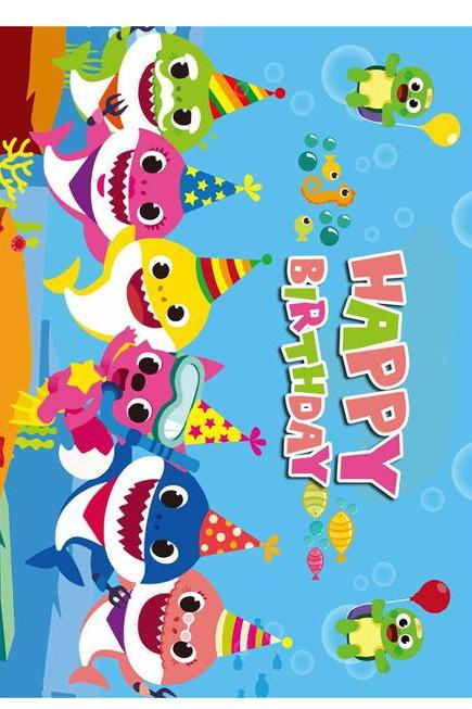 BABY SHARK A4 SHEET CAKE TOPPERS WAFER PAPER EDIBLE MULTIPLE DESIGNS PERSONALIZE FREE